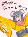 1girl ^_^ animal_ears arms_up blush buck_teeth chinese_zodiac closed_eyes commentary_request flat_chest grey_hair happy highres japanese_clothes kimono large_mouse_(monster_girl_encyclopedia) monster_girl monster_girl_encyclopedia mouse_ears mouse_girl nakoto_oekaki open_mouth scarf solo teeth year_of_the_rat