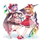 2girls :d adapted_costume asymmetrical_eyebrows bare_shoulders bat_wings belt blonde_hair blue_hair commentary_request cross dress eyebrows_visible_through_hair fang flandre_scarlet flower full_body gunjou_row hair_between_eyes hands_together hat hat_ribbon high_heels highres inverted_cross leg_lift looking_at_viewer mob_cap multiple_girls one_side_up open_mouth orange_flower orange_rose partial_commentary petticoat pink_dress pink_footwear pink_headwear raglan_sleeves red_dress red_eyes red_flower red_footwear red_nails red_rose remilia_scarlet ribbon rose see-through_sleeves shadow short_hair short_sleeves siblings simple_background sisters slit_pupils smile standing standing_on_one_leg touhou transparent_wings white_background white_headwear wings wrist_cuffs