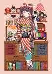 1girl arm_at_side bangs beige_background blunt_bangs book bookshelf bow brown_hair candy chest_of_drawers closed_eyes commentary_request daruma_doll facing_viewer food full_body gloves hair_bobbles hair_bow hair_ornament hand_up holding holding_phone indoors inu-hariko japanese_clothes jar kimono kokeshi lamp long_hair long_sleeves matryoshka_doll obi obiage obijime open_mouth original phone plant potted_plant radio red_bow rotary_phone sandals sash sidelocks sitting smile solo striped striped_kimono tabi television twintails usamochi. vertical-striped_kimono vertical_stripes very_long_hair white_gloves wide_sleeves