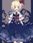 1girl black_dress blonde_hair commentary_request darkness dress drooling feet_out_of_frame grey_background hair_bobbles hair_ornament hair_ribbon highres looking_at_viewer nikorashi-ka open_mouth red_eyes red_neckwear red_ribbon ribbon rumia sharp_teeth shirt short_hair short_sleeves solo teeth text_in_eyes touhou white_shirt