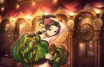 armpits black_hair dress ebihara_naho green_eyes idolmaster_cinderella_girls_starlight_stage long_hair smile