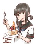 1girl anchor_symbol anniversary birthday_cake black_eyes black_hair black_sailor_collar blue_neckwear cake candle commentary_request food fork fruit fubuki_(kantai_collection) kantai_collection karasu_(naoshow357) long_hair looking_at_viewer low_ponytail neckerchief ponytail remodel_(kantai_collection) sailor_collar school_uniform serafuku short_ponytail sidelocks simple_background slice_of_cake smile solo strawberry strawberry_shortcake upper_body white_background