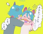>_< 1boy 1girl =3 anger_vein angry animal_ears antenna_hair aqua_hair bangs brother_and_sister cat_boy cat_ears cat_girl cheek_pinching cheek_pull closed_eyes d: dx facing_away facing_viewer fangs flying_sweatdrops furrowed_eyebrows green_background grey_shirt hair_between_eyes hands_up long_hair niwabuki no_nose noshime_ruka open_mouth original pinching satonaka_kei shiny shiny_hair shirt short_sleeves siblings signature simple_background speech_bubble sweat tears translation_request upper_body white_shirt