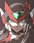 1boy android angelo_(gomahangetsu) black_eyes brown_background closed_mouth face glitch glowing helmet long_hair male_focus muted_color red_headwear rockman rockman_zero simple_background sketch solo upper_body