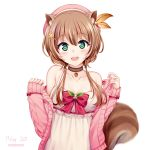 1girl :d absurdres acorn animal_ear_fluff animal_ears ayunda_risu bangs bare_shoulders beret blush bow brown_hair cardigan chrisandita collarbone commentary dated dress eyebrows_visible_through_hair green_eyes hair_between_eyes hair_bobbles hair_ornament hairclip hands_up hat highres hololive leaf_hair_ornament long_hair long_sleeves multicolored_hair open_cardigan open_clothes open_mouth pink_cardigan red_bow red_headwear simple_background sleeveless sleeveless_dress sleeves_past_wrists smile solo squirrel_ears squirrel_girl squirrel_tail streaked_hair striped striped_bow tail twitter_username virtual_youtuber white_background white_dress white_hair