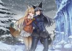 2girls animal_ears black_gloves black_legwear black_skirt blue_jacket breast_pocket breasts brown_gloves commentary commentary_request extra_ears eyebrows_visible_through_hair ezo_red_fox_(kemono_friends) forest fox_ears fox_tail fur-trimmed_sleeves fur_trim gloves gradient gradient_legwear grey_hair highres holding holding_arm jacket kemono_friends long_hair looking_at_another looking_back looking_to_the_side medium_breasts multiple_girls nature open_mouth orange_jacket outdoors pocket riro_(breakthrough_rr) silver_fox_(kemono_friends) skirt snow snowing tail white_legwear white_neckwear white_skirt