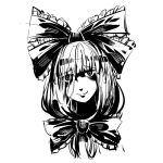 bags_under_eyes bangs blunt_bangs bow bowtie closed_mouth frilled_bow frills front_ponytail greyscale hair_bow head_tilt kagiyama_hina long_hair looking_at_viewer monochrome ruukii_drift shaded_face simple_background smile solo touhou white_background