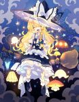 1girl apron back_bow black_headwear black_skirt black_vest blonde_hair blue_bow blush_stickers bow braid broom broom_riding closed_eyes clouds commentary facing_viewer frills full_body glowing hair_bow hat hat_bow highres kirisame_marisa lamp long_hair necktie nikorashi-ka open_mouth shirt short_necktie short_sleeves sidesaddle single_braid skirt sky smile solo star star_(sky) starry_sky touhou vest waist_apron white_bow white_legwear white_neckwear white_shirt witch_hat