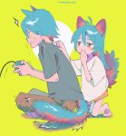 /\/\/\ 1boy 1girl animal_ears antenna_hair aqua_hair bangs barefoot blush_stickers brother_and_sister brown_pants cat_boy cat_ears cat_girl cat_tail circle clenched_teeth closed_mouth constricted_pupils controller covering_mouth dot_nose flying_sweatdrops from_side full_body furrowed_eyebrows game_controller gamepad green_background grey_shirt hair_between_eyes half-closed_eyes hand_up hands_up holding_controller holding_game_controller indian_style kneeling long_hair looking_at_another looking_away motion_lines niwabuki no_shoes noshime_ruka orange_eyes original pants profile satonaka_kei shiny shiny_hair shirt short_sleeves siblings signature simple_background sitting smirk smug startled sweat tail teeth trembling white_shirt