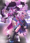 bags_under_eyes blue_eyes boots dress enishi_shumi gym_leader hair_bobbles hair_ornament highres homika_(pokemon) looking_at_viewer multicolored_hair music nezu_(pokemon) pokemon pokemon_(game) pokemon_bw2 pokemon_swsh singing stage stage_lights strapless strapless_dress striped striped_dress tied_hair white_hair
