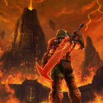 1boy absurdres armor castle dark_clouds doom_(game) doom_eternal doomguy final_fantasy final_fantasy_vii fire from_behind glowing glowing_weapon helmet highres looking_up parody red_sky scenery sky solo sword weapon weapon_on_back