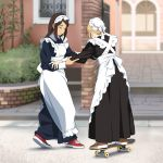 2girls apron back_bow balancing black_dress blonde_hair blue_dress blurry blurry_background bow brown_footwear brown_hair building closed_eyes closed_mouth collared_dress commentary dress hand_on_another's_arm holding_on long_dress long_sleeves maid maid_apron maid_dress maid_headdress multiple_girls original outdoors plant red_footwear shoes skateboard smile sneakers standing suzushiro_(suzushiro333) walking white_apron