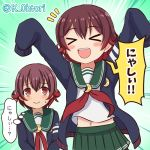 >_< /\/\/\ 2girls blue_jacket blush_stickers brown_hair closed_eyes commentary_request cowboy_shot crescent crescent_moon_pin dual_persona emphasis_lines gradient_hair green_background green_sailor_collar green_skirt jacket kantai_collection multicolored_hair multiple_girls mutsuki_(kantai_collection) neckerchief ootori_(kyoya-ohtori) open_mouth pleated_skirt red_neckwear remodel_(kantai_collection) sailor_collar school_uniform serafuku short_hair skirt sleeves_past_wrists smile twitter_username upper_body