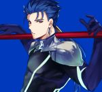 1boy absurdres blue_background blue_gloves blue_hair commentary cu_chulainn_(fate)_(all) cu_chulainn_(fate/grand_order) earrings fate/stay_night fate_(series) frown gloves highres holding holding_weapon jewelry kanniepan long_hair looking_at_viewer male_focus polearm ponytail red_eyes simple_background solo spear weapon