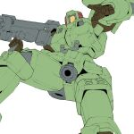 airborne gun gundam gundam_wing highres holding holding_gun holding_weapon kuroiwa_cookie leo_(mobile_suit) looking_down mecha mobile_suit no_humans open_hand science_fiction solo weapon white_background