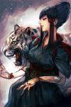 1girl black_dress black_hair dress from_side hair_ribbon hankuri jewelry mishima_kazumi parted_lips profile red_eyes red_lips red_ribbon ribbon ring short_sleeves smile solo tekken tekken_7 tiger