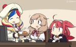 3girls ahoge arm_warmers bangs beret blonde_hair blush bow bowtie braid brown_eyes closed_eyes commandant_teste_(kantai_collection) cup dated eyebrows_visible_through_hair fingerless_gloves food gloves gradient_hair hair_flaps hair_ornament hairband hamu_koutarou hat highres kantai_collection kawakaze_(kantai_collection) light_brown_hair long_hair minegumo_(kantai_collection) monitor multicolored multicolored_clothes multicolored_hair multicolored_scarf multiple_girls open_mouth pom_pom_(clothes) red_neckwear redhead remodel_(kantai_collection) scarf school_uniform signature skirt steam streaked_hair suspender_skirt suspenders twin_braids