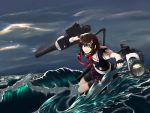 1girl absurdres ahoge black_hair black_serafuku black_shirt black_skirt blue_eyes braid cannon clouds cloudy_sky hair_flaps hair_ornament hair_over_shoulder highres kantai_collection m134 neckerchief ocean outdoors pleated_skirt red_neckwear remodel_(kantai_collection) rigging school_uniform serafuku shigure_(kantai_collection) shirt single_braid skirt sky solo thigh_strap torpedo_launcher turret waves