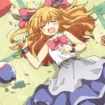 00tea 1girl belt blonde_hair blouse blue_skirt blush bow bowtie closed_eyes cuffs drooling fang gourd hair_bow hand_up horns ibuki_suika long_hair lowres lying messy_hair on_back on_ground open_mouth red_bow red_neckwear senbei shackles skirt sleeping sleeveless_blouse solo tatami touhou upper_body white_blouse zzz