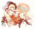 1girl animal beige_background bird bird_tail bird_wings blonde_hair boots brown_footwear capelet chick dress easter_egg egg flower food fruit full_body grapes hair_flower hair_ornament hat hisona_(suaritesumi) niwatari_kutaka orange_dress parted_lips puffy_short_sleeves puffy_sleeves red_eyes red_flower red_headwear short_hair short_sleeves solo touhou white_capelet wings