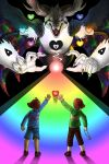 1boy 2others absurdres ahoge asriel_dreemurr beam black_background brown_hair chara_(undertale) clenched_hand closed_eyes denim frisk_(undertale) goat_horns heart highres holding huge_filesize jaguarkia jewelry locket multiple_others nail open_mouth pendant rainbow reaching shirt shoes simple_background spoilers teeth undertale wings