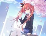 1girl absurdres black_jacket black_ribbon blazer blue_skirt blue_sky building cherry_blossoms cityscape clouds cloudy_sky commentary_request date_a_live day hair_between_eyes hair_ribbon highres holding_lollipop itsuka_kotori jacket long_hair looking_at_viewer miniskirt mo_(pixiv9929995) outdoors pantyhose pleated_skirt red_eyes redhead ribbon school_uniform shirt sitting_on_railing skirt sky skyscraper smile solo twintails very_long_hair white_legwear white_ribbon white_shirt
