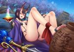 1girl adsouto bangs bare_shoulders barefoot_sandals bob_cut breasts cherry_blossoms collarbone eyeliner fate/grand_order fate_(series) feet headpiece highres horns japanese_clothes kimono leaning_back long_sleeves looking_at_viewer makeup oni oni_horns pot purple_hair purple_kimono revealing_clothes short_hair shuten_douji_(fate/grand_order) skin-covered_horns small_breasts solo sword toes tree violet_eyes weapon wide_sleeves