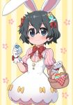 1girl alternate_costume animal_ears basket black_hair blue_eyes blush bow bowtie commentary_request cosplay dress easter easter_bunny easter_bunny_(cosplay) easter_egg egg eyebrows_visible_through_hair flower gloves hair_bow hair_flower hair_ornament kaban_(kemono_friends) kemono_friends no_hat no_headwear puffy_short_sleeves puffy_sleeves rabbit_ears ransusan red_bow red_neckwear red_ribbon ribbon short_hair short_sleeves solo striped_sleeves white_dress white_gloves yellow_bow