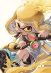 1girl absurdres action anko2552 aqua_footwear bangs bike_shorts black_shorts blonde_hair blunt_bangs commentary domino_mask dual_wielding food_in_mouth grey_skirt highres holding ink_tank_(splatoon) inkling looking_at_viewer mask mouth_hold paint_splatter pointy_ears shirt shoes short_hair short_shorts shorts skirt sliding solo sparkle splatoon_(series) splatoon_2 standing tentacle_hair v-shaped_eyebrows white_shirt yellow_eyes