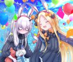 2girls abigail_williams_(fate/grand_order) animal_ears bags_under_eyes balloon bangs black_bow black_dress blonde_hair blue_sky blush bow breasts closed_eyes closed_mouth commentary_request confetti dress fate/grand_order fate_(series) ferris_wheel forehead hair_bow highres horn lavinia_whateley_(fate/grand_order) long_hair multiple_bows multiple_girls open_mouth orange_bow pale_skin parted_bangs polka_dot polka_dot_bow rabbit_ears ribbed_dress sky sleeves_past_fingers sleeves_past_wrists small_breasts smile stuffed_animal stuffed_toy teddy_bear touko_56 wide-eyed