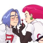 1boy 1girl blush gloves highres jewelry kojirou_(pokemon) makeup musashi_(pokemon) pokemon pokemon_(anime) protected_link team_rocket yaaawny