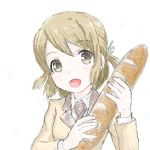 1girl asahi_production baguette bread brown_hair cute female_focus food holding holding_food looking_at_viewer makiriandef media_factory moe open_mouth pan_de_peace! ribbon school_uniform short_hair smile solo tani_minami yellow_eyes