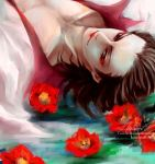 1boy artist_name brown_eyes brown_hair closed_mouth collarbone eyeshadow flower izou_(one_piece) kamuna8046z lipstick looking_at_viewer lying makeup male_focus medium_hair on_back one_piece open_clothes red_eyeshadow red_flower red_lips signature solo source_request upper_body