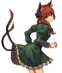 1girl animal_ear_fluff animal_ears black_bow bow braid breasts cat_ears cat_girl cat_tail closed_mouth commentary_request dress eyebrows_visible_through_hair frilled_dress frilled_sleeves frills from_behind green_dress hair_bow highres juliet_sleeves kaenbyou_rin long_hair long_sleeves looking_at_viewer looking_back multiple_tails puffy_sleeves red_eyes redhead simple_background small_breasts solo tail touhou twin_braids two_tails v-shaped_eyebrows white_background yanyan_(shinken_gomi)