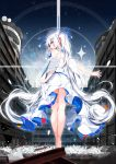1girl absurdres angel_wings bangs bare_arms bare_shoulders bare_tree barefoot blue_eyes blue_ribbon blue_sky blush breasts building clouds commentary_request day dress eyebrows_visible_through_hair feathered_wings from_behind hair_between_eyes hair_ornament hair_ribbon hairclip highres kamioka_shun'ya long_hair looking_at_viewer looking_back mini_wings original outdoors profile ribbon ruins sideboob silver_hair sky sleeveless sleeveless_dress small_breasts solo standing star_(sky) starry_sky steel_beam tree twintails very_long_hair white_dress white_wings wings