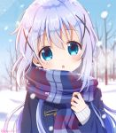 1girl :o bangs bare_tree blue_eyes coat commentary day eyebrows_visible_through_hair gochuumon_wa_usagi_desu_ka? hair_between_eyes hair_ornament head_tilt kafuu_chino lavender_hair long_hair looking_at_viewer mozukun43 outdoors plaid plaid_scarf scarf snow snowing solo symbol_commentary tree twitter_username upper_body winter winter_clothes x_hair_ornament