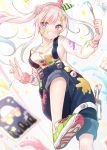1girl :d airani_iofifteen bare_shoulders blurry breasts buttons depth_of_field grin hair_bun highres hololive long_sleeves open_mouth overalls paint_splatter paintbrush palette shoes smile sneakers solo violet_eyes virtual_youtuber white_hair yano_mitsuki