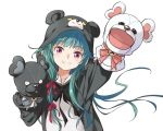 1girl agahari animal_costume animal_ears animal_hood arm_up bangs bear_costume bear_ears bear_hood blush eyebrows_visible_through_hair foreshortening green_hair hair_ribbon hand_puppet hand_up hood hood_up kuma_kuma_kuma_bear long_hair long_sleeves looking_at_viewer outstretched_arm puppet reaching_out red_eyes red_ribbon ribbon simple_background smile solo teeth upper_body v-shaped_eyebrows very_long_hair white_background yuna_(kuma_kuma_kuma_bear)