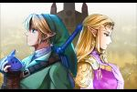back-to-back blonde_hair blue_eyes brown_gloves circlet delsaber dress earrings elbow_gloves fingerless_gloves gloves gold_trim green_headwear green_tunic instrument jewelry link long_hair looking_down looking_up master_sword ocarina pink_dress pointy_ears princess_zelda temple the_legend_of_zelda the_legend_of_zelda:_ocarina_of_time triforce white_gloves