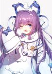 1girl animal_ears azur_lane bird blue_bow blue_eyes blush bow breath coat commentary_request eyebrows_visible_through_hair fake_animal_ears fur_trim hair_ornament hair_ribbon heart highres long_hair long_sleeves looking_at_viewer one_eye_closed open_mouth paya_(aejx2345) pom_pom_(clothes) ponytail purple_hair ribbon simple_background sleeves_past_wrists snow_on_head snowing steam tashkent_(azur_lane) very_long_hair white_background white_coat