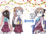 3girls akigumo_(kantai_collection) blue_eyes brown_hair cake calendar_(object) commentary_request coronavirus_pandemic directional_arrow double_bun food gas_mask gift green_eyes grey_legwear hair_ribbon halterneck kantai_collection kazagumo_(kantai_collection) long_hair long_sleeves makigumo_(kantai_collection) mask mouth_mask multiple_girls necktie pantyhose pink_hair plague_doctor_mask pleated_skirt ponytail ribbon sash school_uniform shirt sitting skirt sleeves_past_fingers sleeves_past_wrists surgical_mask table torikai_a twintails vest white_shirt