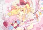1girl blonde_hair bow character_doll commentary_request crystal damaged flandre_scarlet frills hat hat_bow highres long_hair lying mob_cap nikorashi-ka on_side one_eye_closed pillow red_bow red_eyes short_sleeves side_ponytail solo stuffing touhou under_covers upper_body wings wrist_cuffs