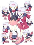 black_eyes chibi commentary_request dawnlover_01 highres hikari_(pokemon) korean_text looking_at_viewer multiple_persona pink_footwear pokemon pokemon_(game) pokemon_dppt pokemon_platinum red_scarf scarf smile translation_request white_scarf winter_clothes