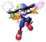 artist_request bandai_namco black_fur blue_headwear blue_pants blue_shirt cabbit commentary_request emblem feet gem gloves hands hat jewelry kawano_takuji kaze_no_klonoa klonoa legs namco_x_capcom official_art pants pointy_ears red_footwear ring shirt tail yellow_eyes yellow_gloves zipper