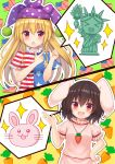 >_< 2girls :d absurdres american_flag animal_ears blonde_hair blush brown_hair carrot_necklace clownpiece commentary_request dress hat highres inaba_tewi jester_cap long_hair multiple_girls neck_ruff open_mouth pink_dress pointing polka_dot puffy_short_sleeves puffy_sleeves purple_headwear rabbit rabbit_ears red_eyes short_sleeves smile statue_of_liberty suigetsu_(watermoon-910) touhou xd