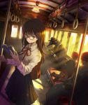 2boys 2girls bird black_hair book cane child commentary crow formal glasses ground_vehicle hat highres holding holding_book japanese_clothes kimono long_hair monster_boy multiple_boys multiple_girls original reading school_uniform suit sunset train train_interior ume_(illegal_bible)