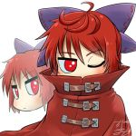1girl ahoge avatar_icon blue_bow bow buckle cape chamaji cloak disembodied_head eyebrows_visible_through_hair hair_between_eyes hair_bow high_collar looking_at_viewer lowres multiple_heads nukekubi one_eye_closed red_cape red_cloak red_eyes redhead sekibanki short_hair signature solo touhou upper_body white_background