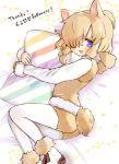1girl alpaca_ears alpaca_girl alpaca_suri_(kemono_friends) alpaca_tail animal_ears blue_eyes commentary_request eyebrows_visible_through_hair fur_trim hair_bun hair_over_one_eye hair_tubes highres ichi001 kemono_friends long_sleeves looking_at_viewer on_bed pantyhose pillow pillow_hug scarf shirt short_hair short_shorts shorts solo striped_pillow tail vest white_fur white_hair white_legwear white_shirt