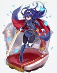1girl blue_eyes blue_gloves blue_hair bug butterfly closed_mouth falchion_(fire_emblem) fingerless_gloves fire_emblem fire_emblem_awakening full_body gloves haru_(nakajou-28) highres holding holding_sword holding_weapon insect long_hair lucina lucina_(fire_emblem) scabbard sheath solo sword tiara weapon