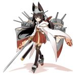 1girl animal_ears azur_lane bangs blush brown_eyes brown_hair closed_mouth eyebrows_visible_through_hair full_body headgear hip_vent holding holding_weapon hood hood_down japanese_clothes katana long_hair long_sleeves mouth nagato_(azur_lane)_(old_design) raigou red_skirt rigging sandals shadow sheath simple_background skirt solo sword thigh-highs weapon white_background wide_sleeves